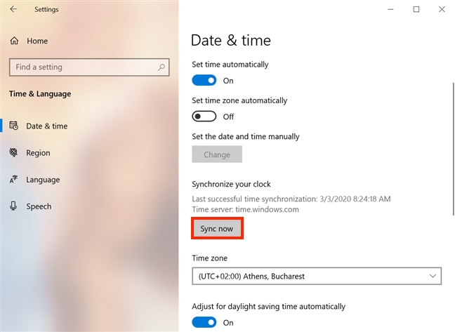 Press Sync now to synchronize your time and date