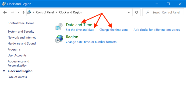 Press any link to open the Date and Time window