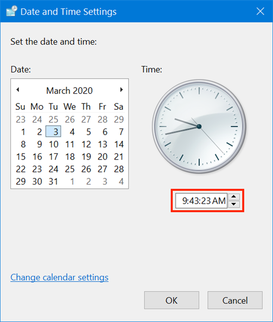 Modify the time in Date and Time Settings