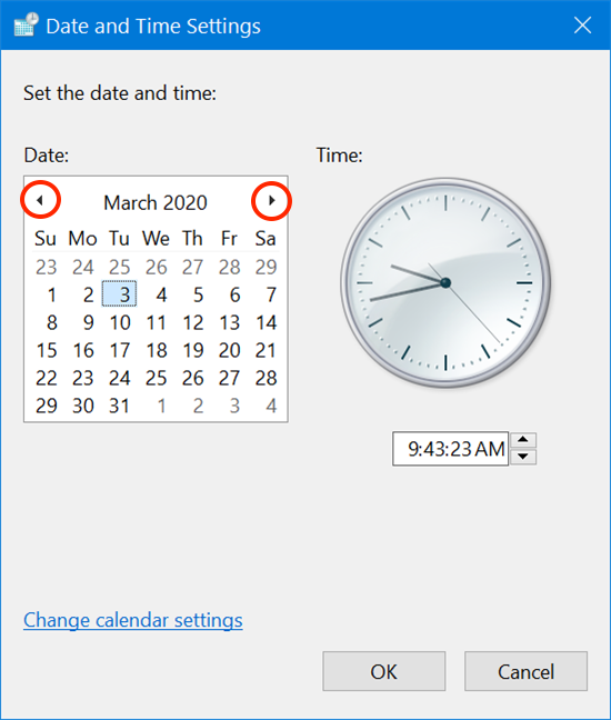Use the arrows to choose another month