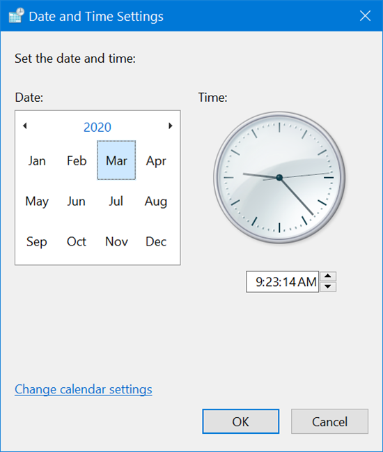 Zoom out to change the date