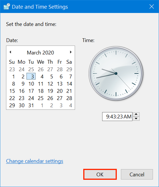 Press OK and the new time and date are saved