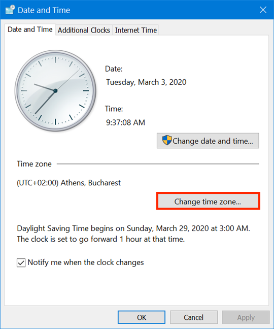 Press Change time zone