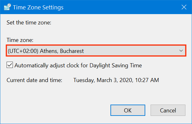 Press on the field to choose another time zone