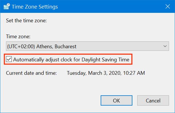 Windows 10 adjusts your clock for Daylight Saving Time