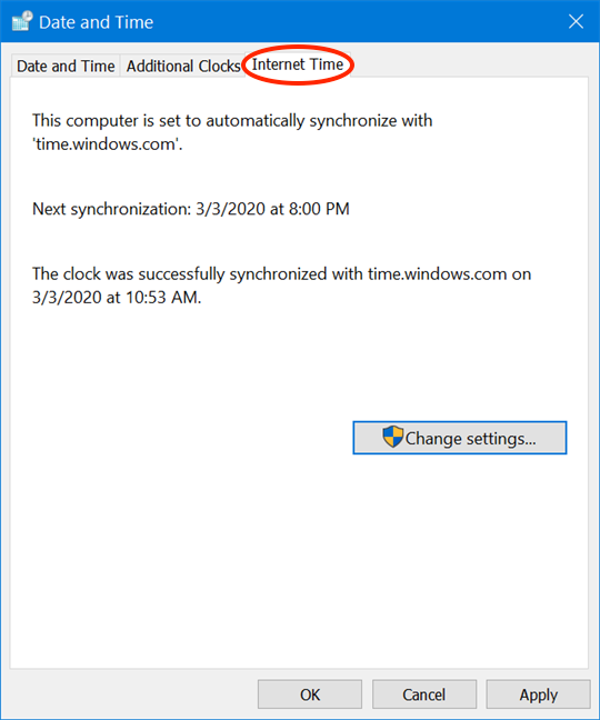 Access Internet Time in the Date and Time window