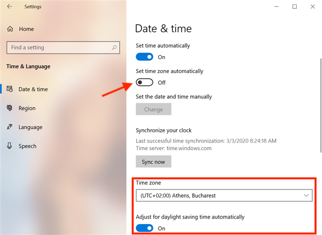 Turn off the switch to configure the time zone settings