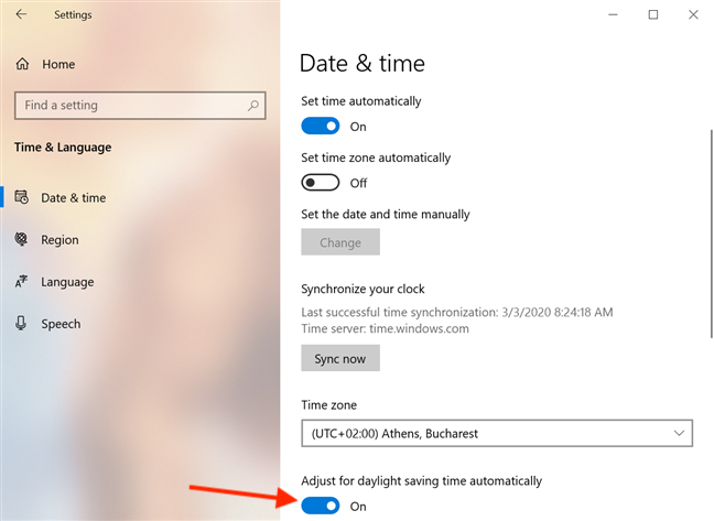 The Adjust for daylight savings automatically switch