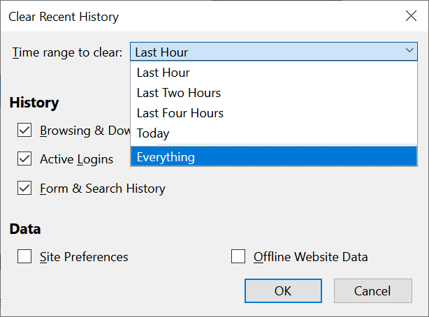 Clean Firefox cookies completely by selecting Everything