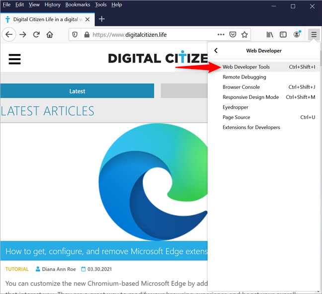 Access the Web Developer Tools to view cookies in Firefox