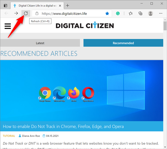 Press to Refresh your tabs in Edge