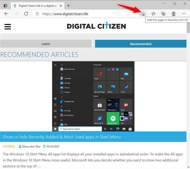 Add a page to Favorites in Microsoft Edge