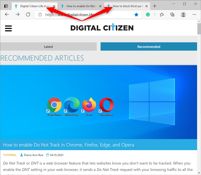 Select several tabs with Ctrl