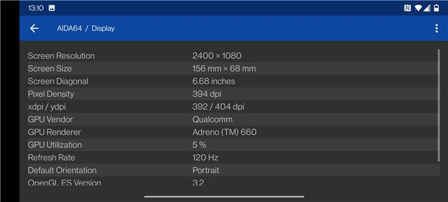 OnePlus 9: Display technical specifications
