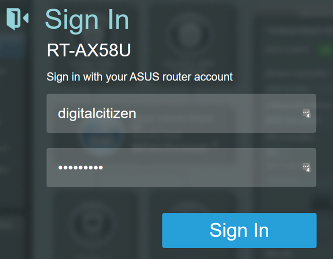 Log in to your ASUS router