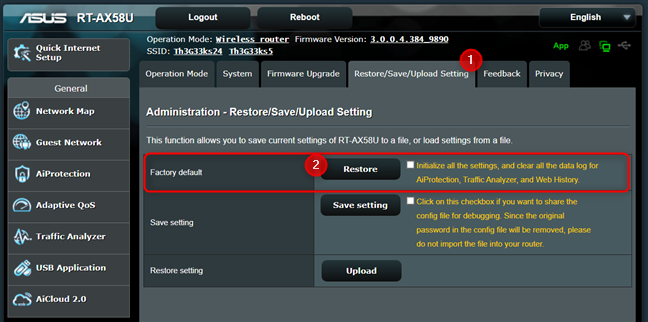 Press the Restore button next to Factory default