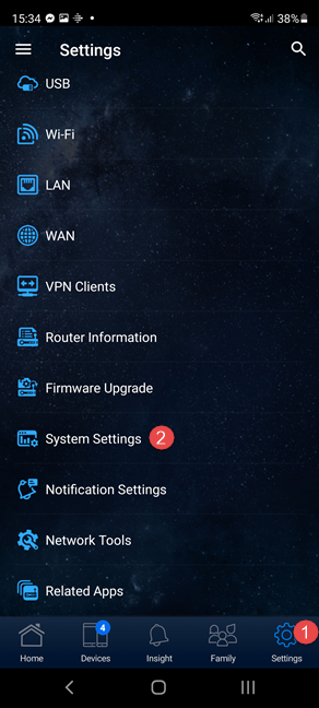 In the ASUS Router app, go to Settings followed by System Settings