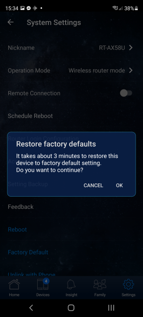Confirm that you want to reset your ASUS router
