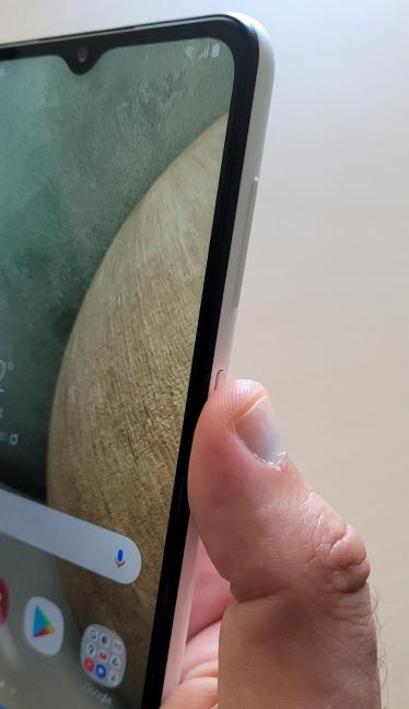 The fingerprint sensor on the Samsung Galaxy A12