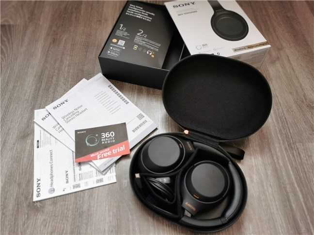The contents of the Sony WH-1000XM4 package