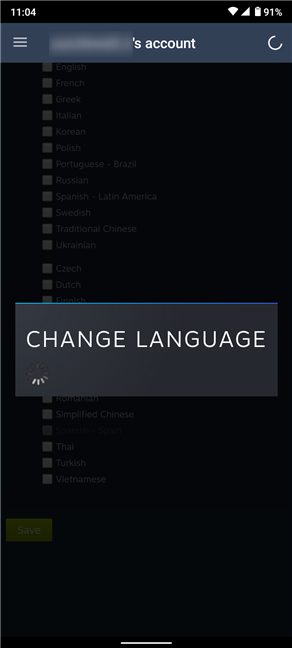 The Steam language change is applied after the loading screen