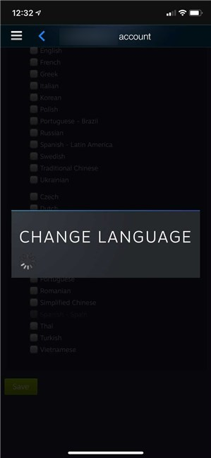 Steam immediately changes the language it's displayed in