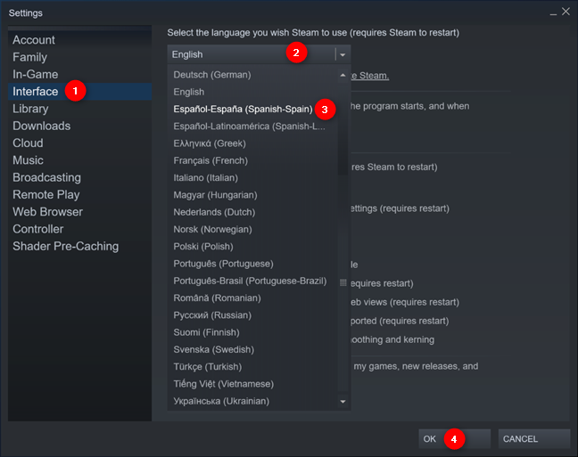 The Steam language change settings in Windows 10