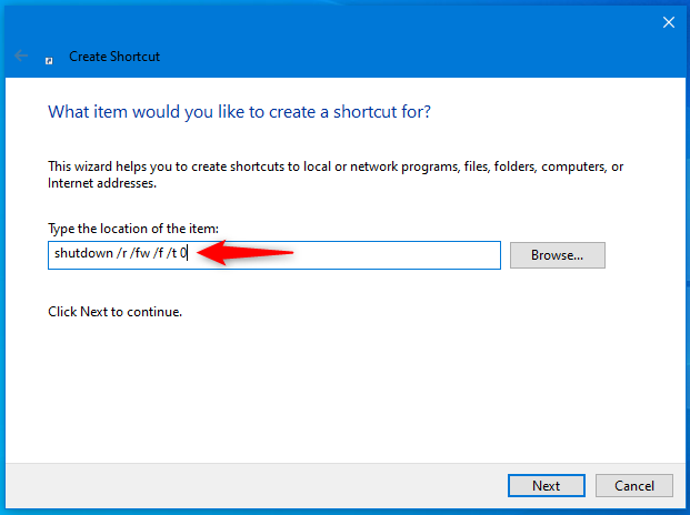 How to create a shortcut to UEFI BIOS