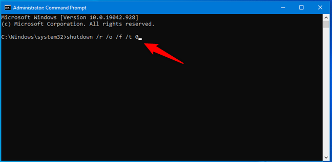Run the shutdown /r /o /f /t 0 command to get to Windows 10's Recovery Environment