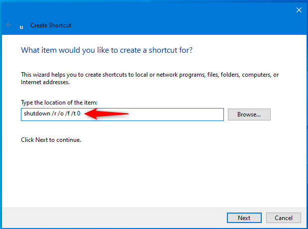 How to create a shortcut to Windows 10's Recovery environment