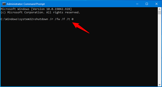 Open UEFI BIOS fast by running the command shutdown /r /fw /f /t 0