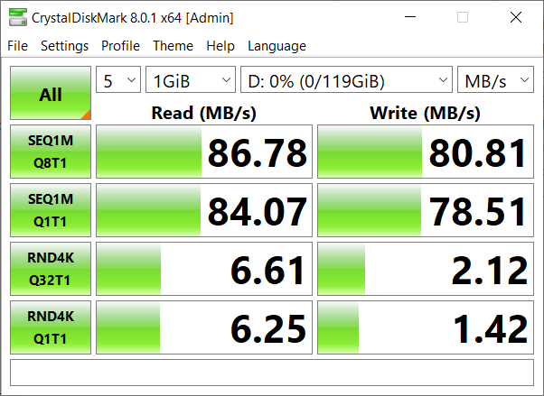 Benchmark results when using UHS-I class speeds