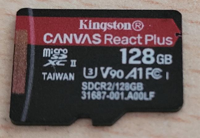 The Kingston Canvas React Plus microSD card