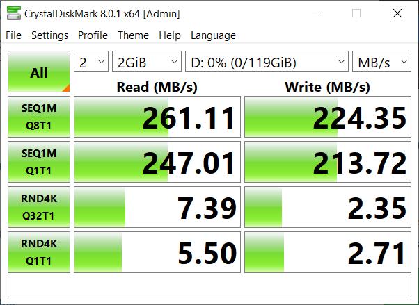 CrystalDiskMark v8 benchmark results
