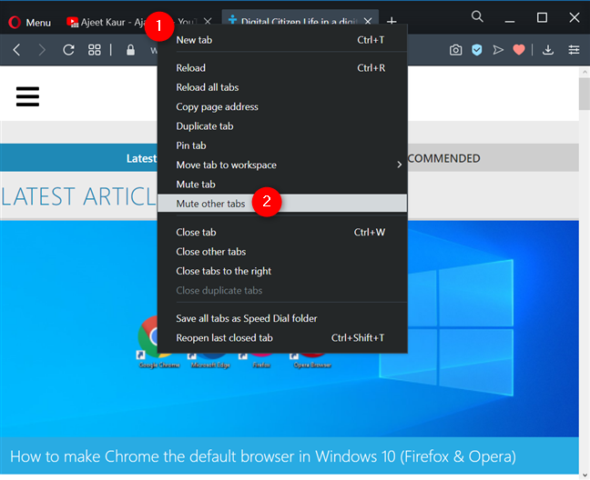 Mute other tabs in Opera
