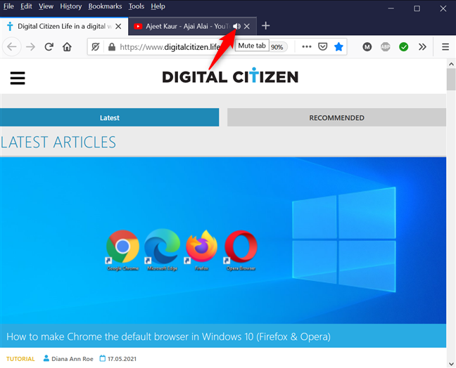 How to mute a tab in Firefox with one click or tap