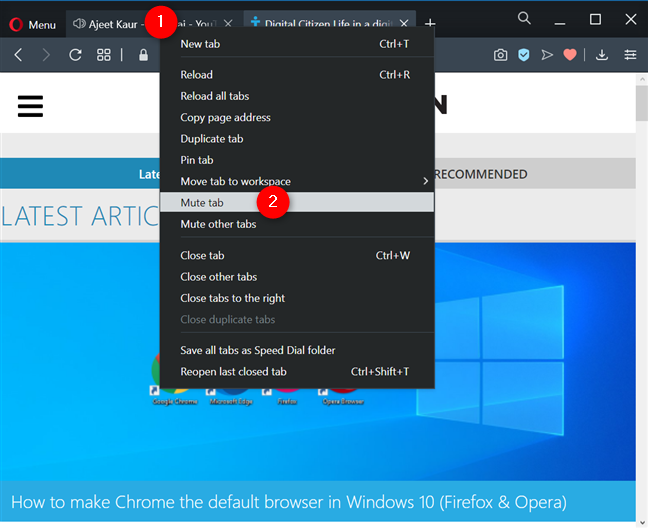 How to mute a tab in Opera from its contextual menu