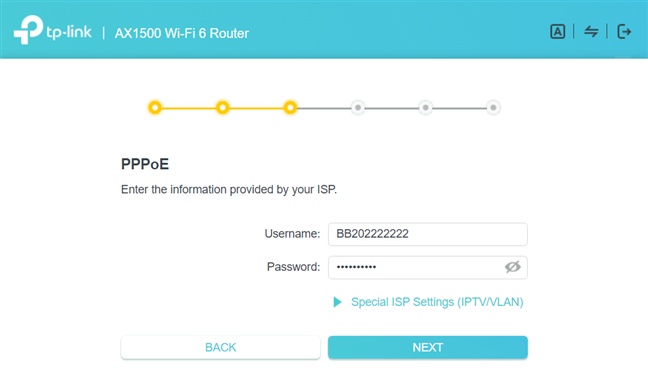 Enter the username and password for PPPoE