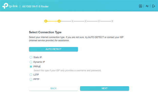 Select PPPoE as the internet connection type