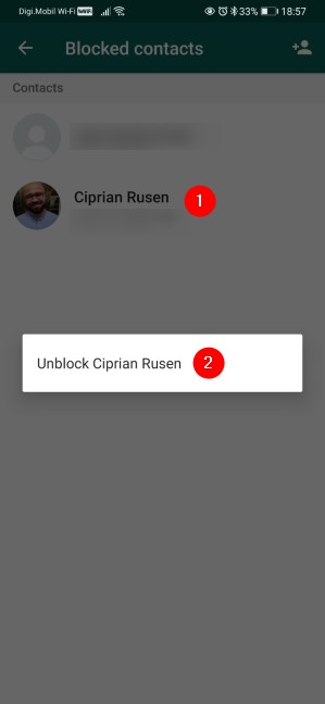 Unblock someone on WhatsApp for Android