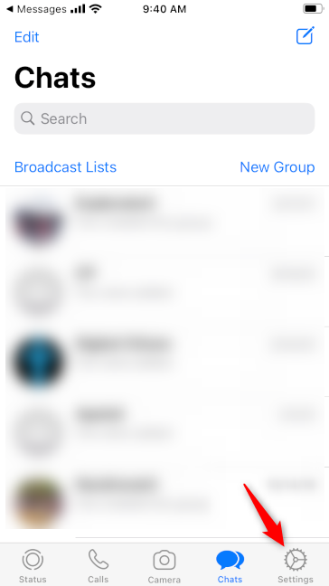 The Settings button in WhatsApp for iPhone