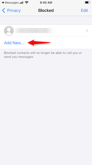 Add New contact to block in WhatsApp for iPhone