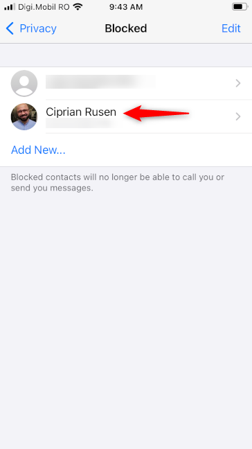 Someone blocked in WhatsApp for iPhone