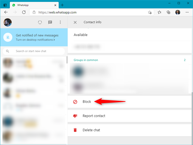 How to block someone in WhatsApp Web from the contacts page