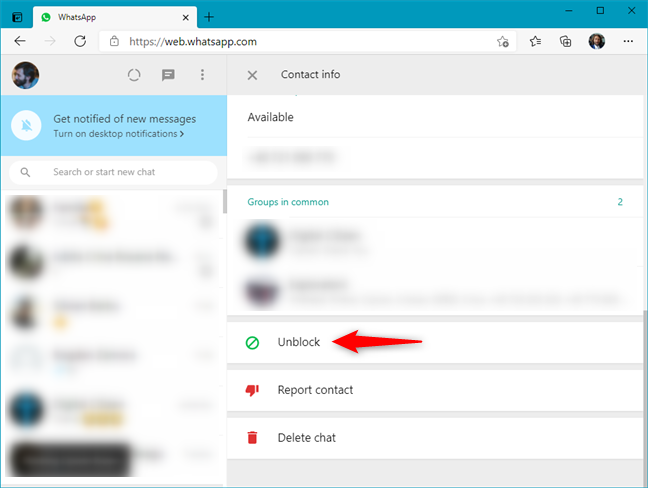 How to unblock someone in WhatsApp Web from the contacts page