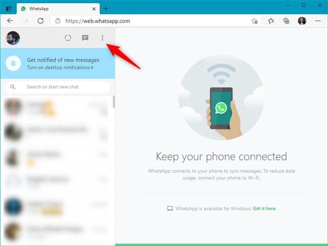 The menu button from WhatsApp Web