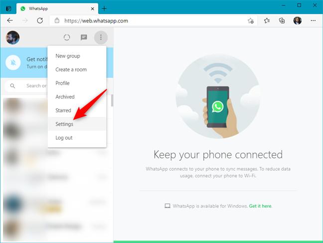 Settings in WhatsApp Web