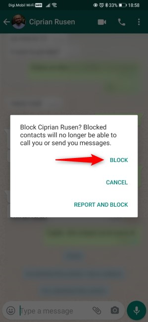 Confirming the WhatsApp blocking