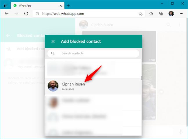 Choosing whom to block in WhatsApp Web