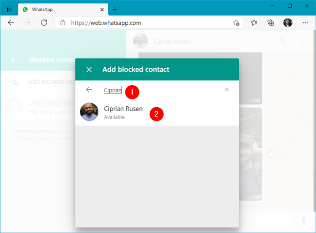 Add blocked contact in WhatsApp Web